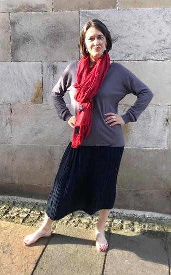 Numph Nuabigail pleated skirt in dark sapphire