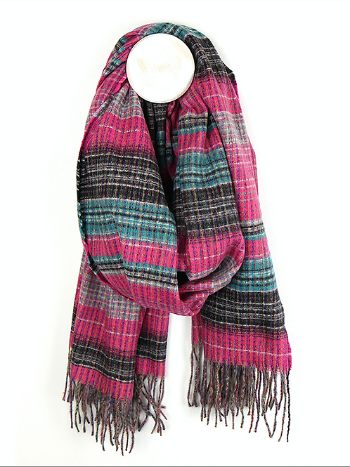 Bright pink and teal soft viscose scarf