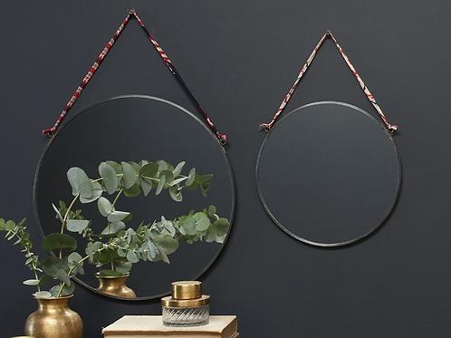 Nkuku zinc round mirror with hanging tie