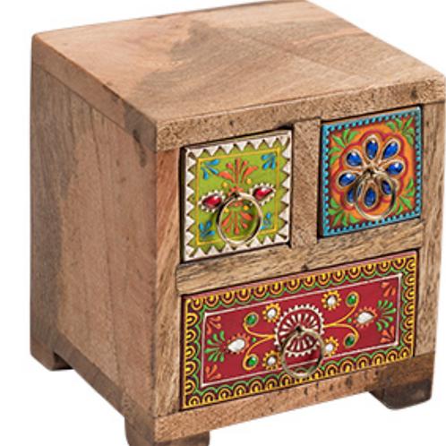 Handpainted sustainable mango wood 3 drawer chest