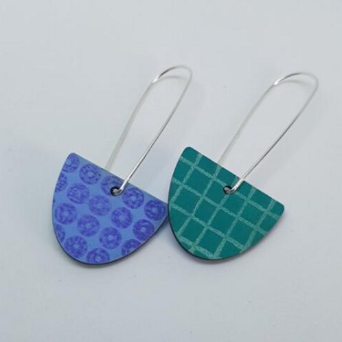 Circle & Dash semi circle blue & green reversible earrings