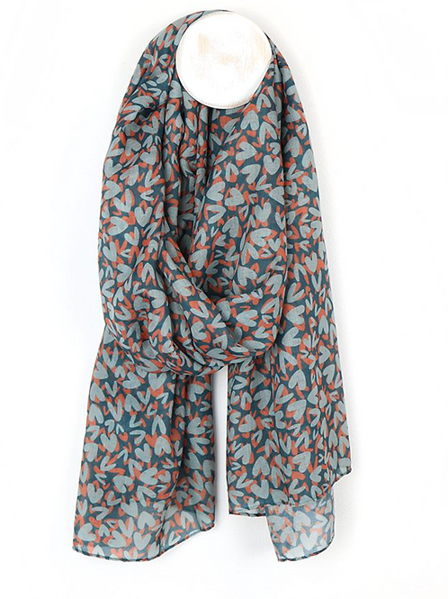 Navy and Orange recycled hearts scarf