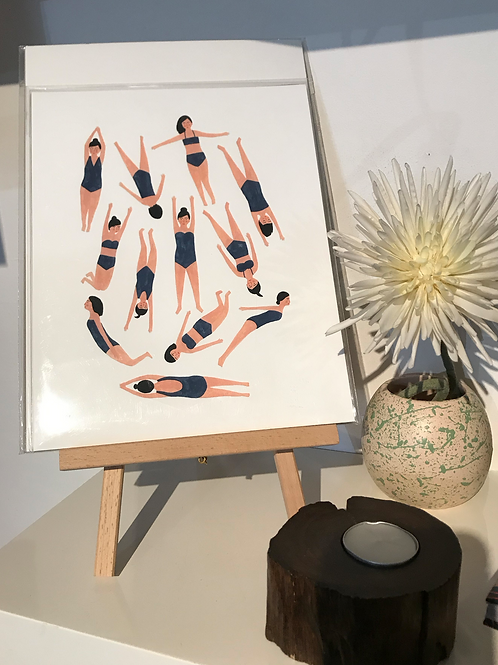 Kate pugsley art print - 'Swimmers'
