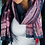 Thumbnail: Navy cotton scarf with traditional print and tassels