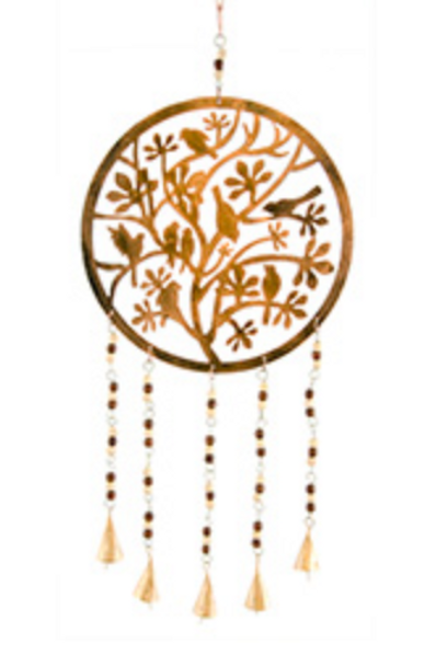 Tree with bird wind chime with bells