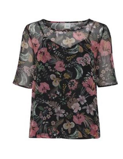 Ichi Filikke floral top with vest layer