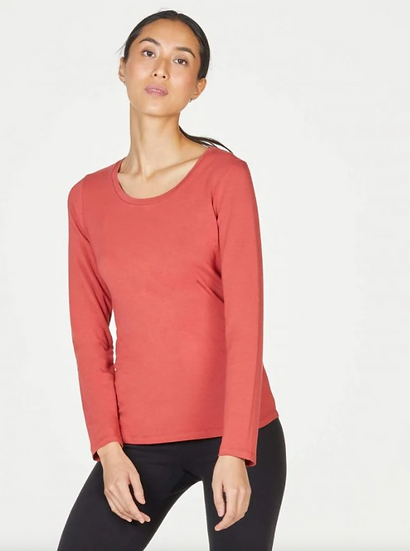 Thought bamboo jersey base layer persimmon red
