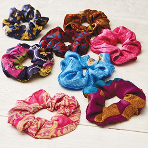 Recycled sari hair scrunchies