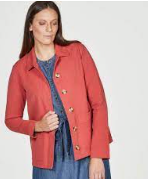 Thought phebe organic cotton worker jacket in persimmon red
