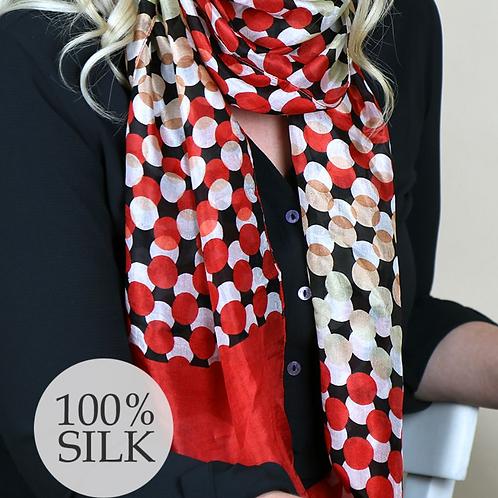 Red multi dot print silk scarf