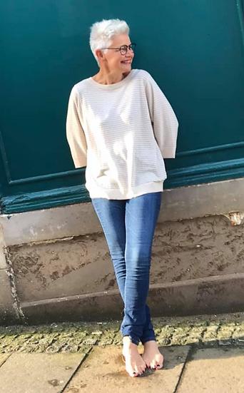 Yaya short sleeve sweater in french oak