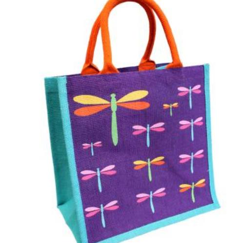 Jute bag with dragonflies design