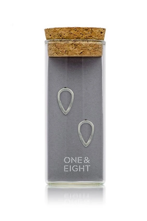 One & Eight silver raindrop studs