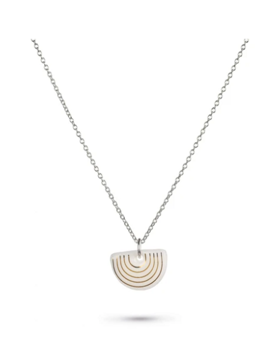 One & Eight white Agatha silver necklace