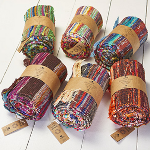 Recycled soft sari throws