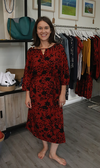 Fransa Lavisco dress in barn red and black floral