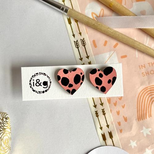 Ivy & Ginger pink dalmatian heart earrings