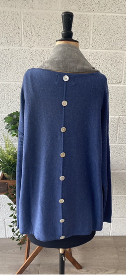 Mid blue sweater with buttons down the back