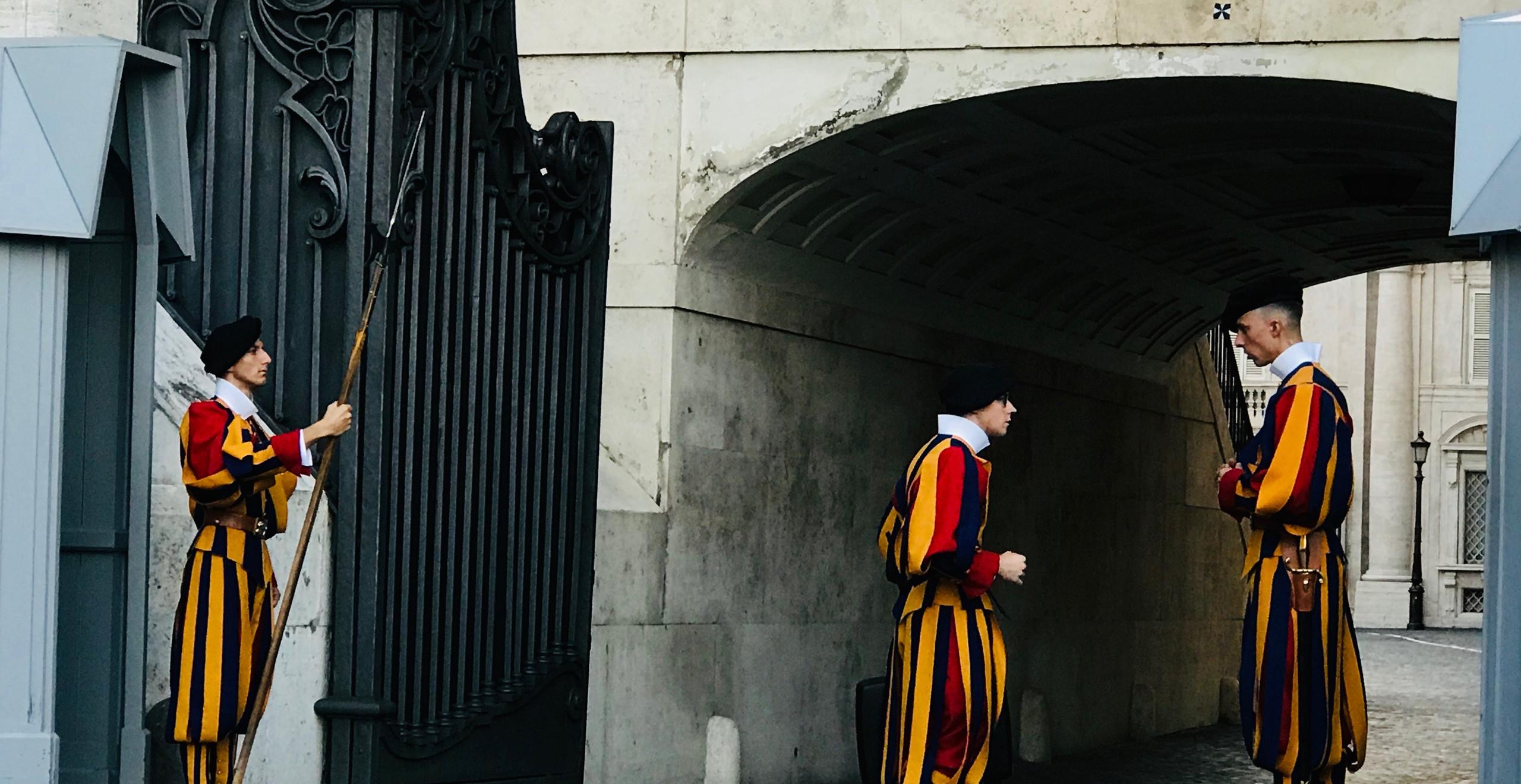 Swiss guards in Vatican City.