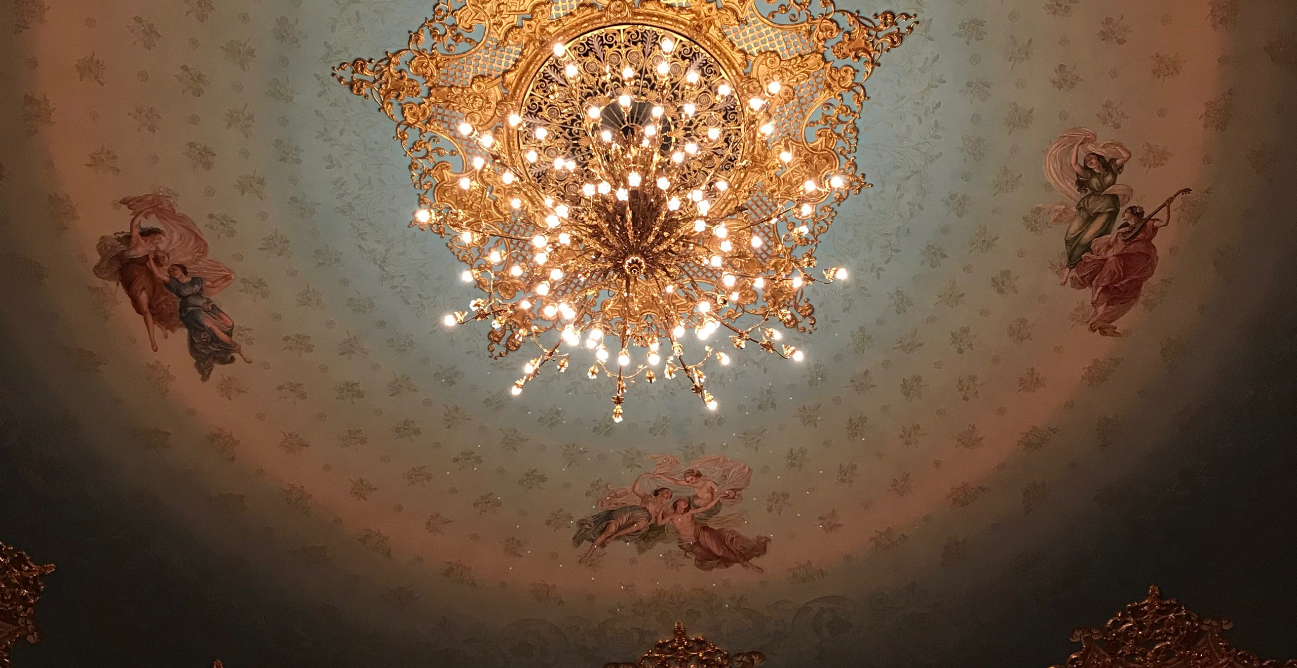 The ceiling of the Venice Opera House is stunning.