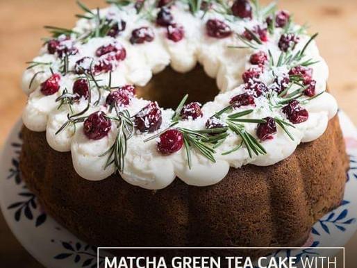 Matcha Green Tea Cake with Rosemary & Cranberries