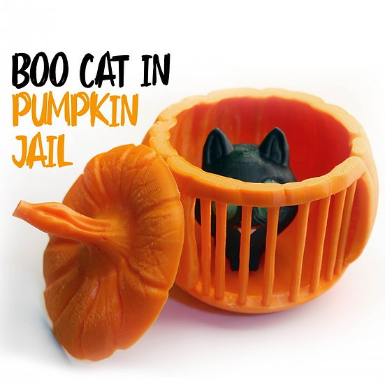 Boo Cat in Pumpkin Jail