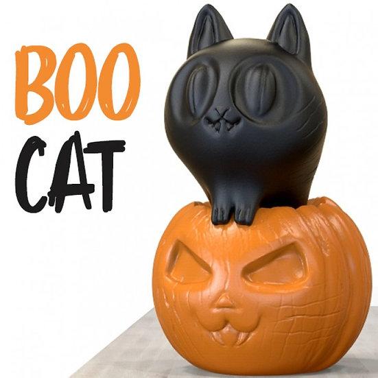 Halloween Boo Cat & Pumpkin