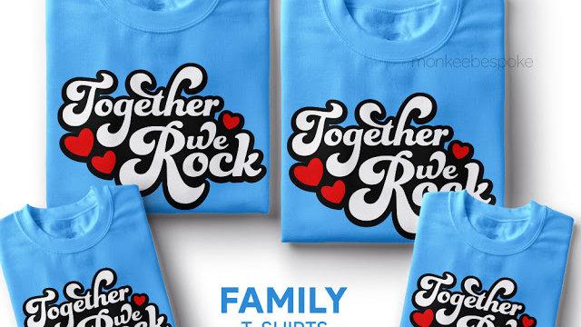 Matching Together We Rock Family T-shirts in Navi Mumbai