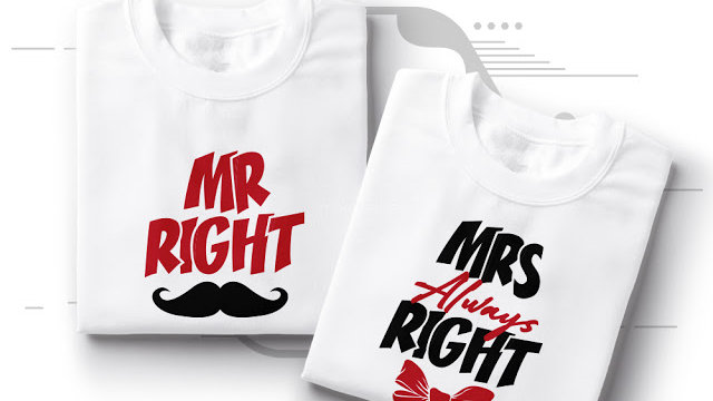 Mr and Mrs Right Couple T-shirts in Nerul