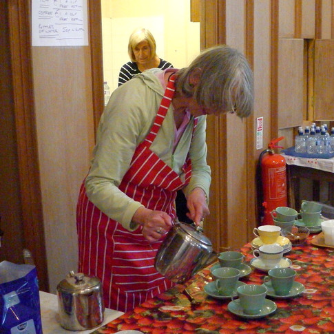 Tea being poured at Challock