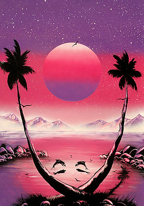 DOLPHINS AT PINK SUNSET