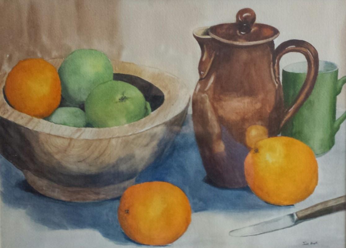Brown Jug and Fruit