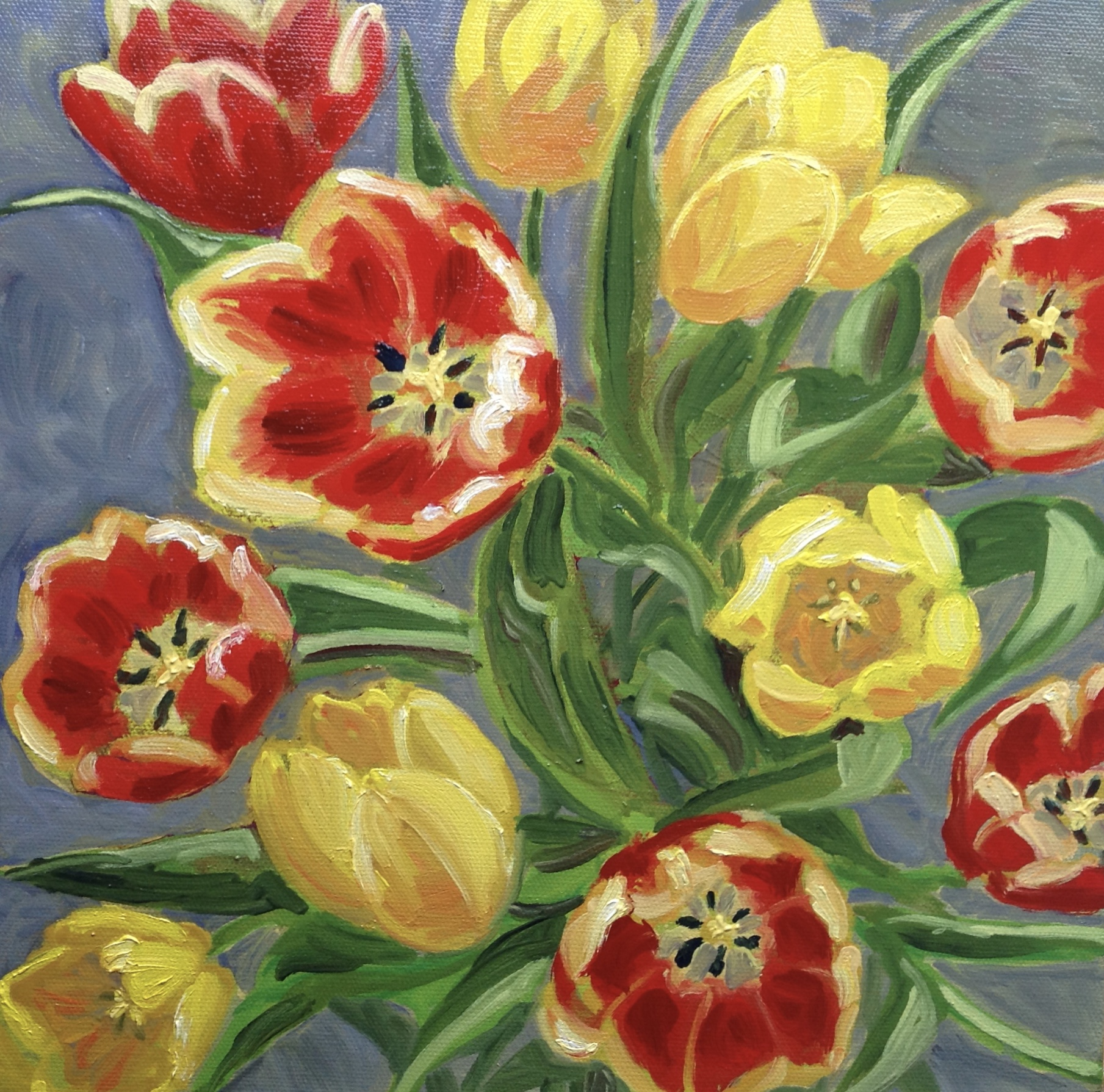 Tulips oil box canvas 12x12_