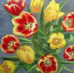 Tulips oil box canvas 12x12_