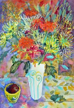 Flowers & golden bowl