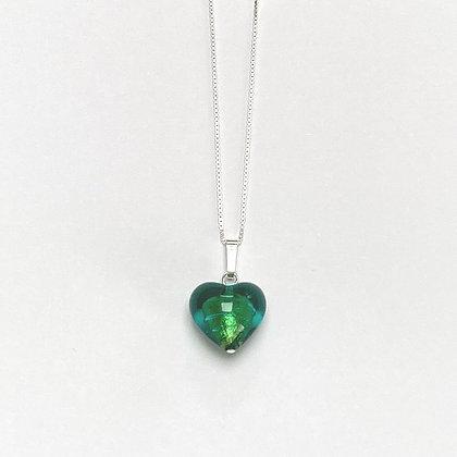 Venetian Glass Green Heart Pendant
