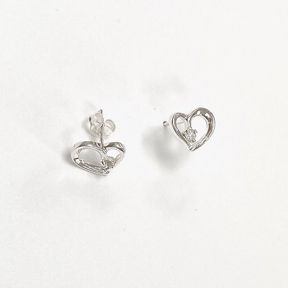 Sterling Silver Cubic Zirconia Solitaire Open Heart Studs