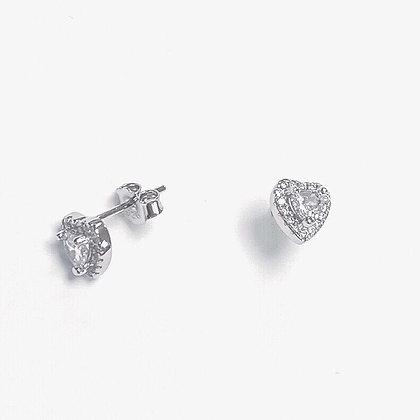 Sterling Silver Cubic Zirconia Encased Heart Studs