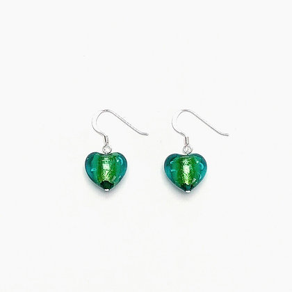Venetian Glass Green Heart Earrings