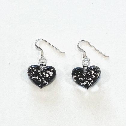 Black Silver Foil Puffy Glass Heart Earrings