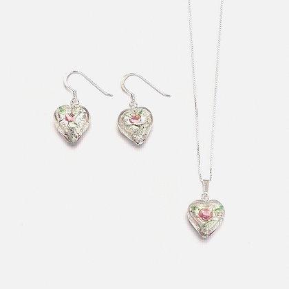 Venetian Glass Silver Foil Rose Heart Set