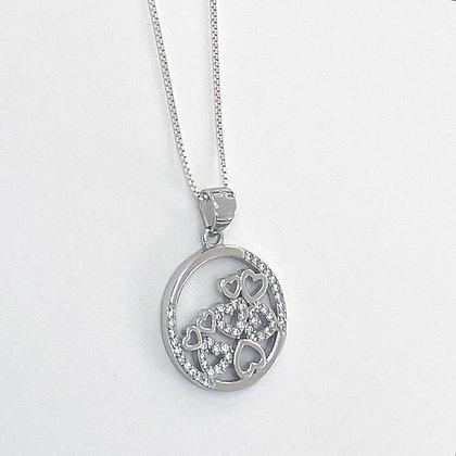 Sterling Silver Cubic Zirconia Encased Hearts Disc Pendant