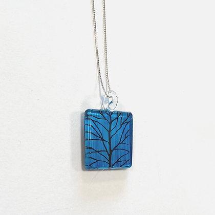 Blue Tree Glass Square Pendant