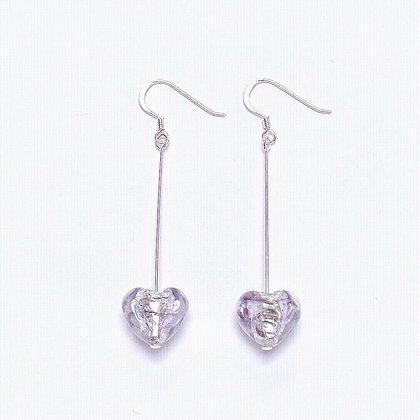 Venetian Glass Silver Foil Lilac Heart Long Earrings