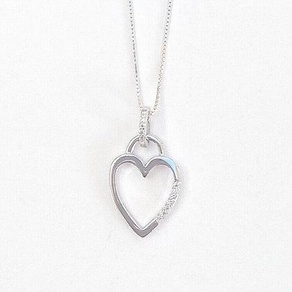 Sterling Silver Cubic Zirconia Inset Open Heart Pendant