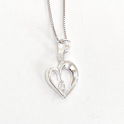 Sterling Silver Cubic Zirconia Solitaire Open Heart Pendant