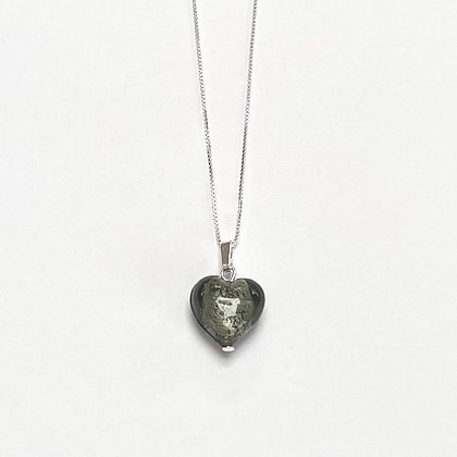 Venetian Glass Silver Foil Charcoal Heart Pendant