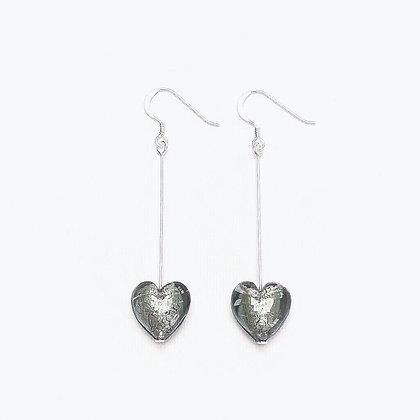 Venetian Glass Silver Foil Charcoal Heart Long Earrings
