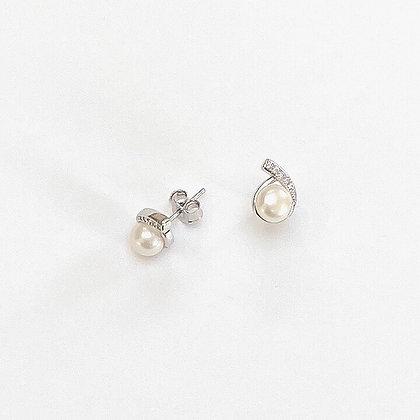 Sterling Silver Cubic Zirconia Encased Freshwater Pearl Studs