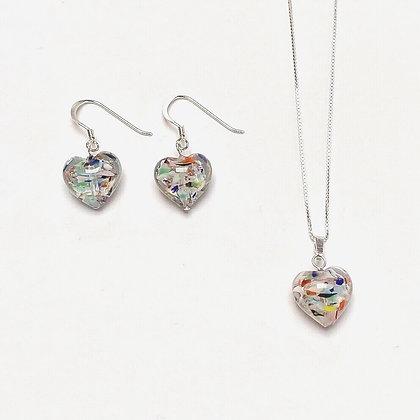 Venetian Glass Multi Copper Swirl Heart Set